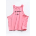 Hot Fashion Simple Letter Printed Sleeveless Cropped Tank Top