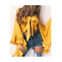 Sexy Plunge Neck Bow Tied Front Fashion Ruffle Long Sleeve Cropped Blouse