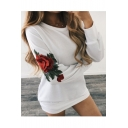 New Trendy Chic Floral Embroidered Long Sleeve Round Neck Tunic Sweatshirt
