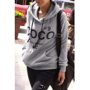 Loose Leisure Fashion Letter Printed Long Sleeve Hoodie with Pockets