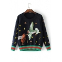 Chic Bird Bee Embroidered Round Neck Long Sleeve Pullover Sweater