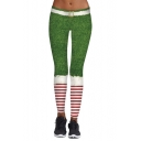 Fashion Digital Christmas Theme Striped Printed Sports Yoga Leggings