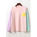 Basic Round Neck Long Sleeve Color Block Pullover T-Shirt with Single Pocket