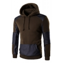 Hot Fashion Stylish Color Block PU Patchwork Long Sleeve Sports Hoodie