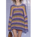 New Arrival Chic Rainbow Striped Pattern Round Neck Long Sleeve Mohair Sweater
