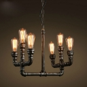 Industrial Multi Light Pendant Light Retro Vintage E27 LED in Open Bulb Style, Black