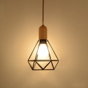Industrial Ceiling Light with Diamond Shape Shade, Black