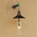Industrial LOFT Wall Sconce with Tap Decorative Pipe Fixture and Metal Shade, Clear Bottle Glass Shade