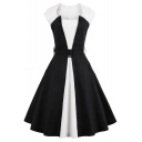 Chic Retro Color Block Scoop Neck Sleeveless Elegant Midi Fit Flared Dress