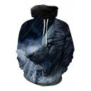 Fashion Digital War Wolf Printed Casual Leisure Oversize Long Sleeve Hoodie