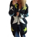Color Block Long Sleeve Stars Pattern Round Neck Open Front Cardigan