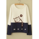 Cartoon Sleeping Cat Print Color Block Long Sleeve Round Neck Sweatshirt