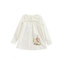 Peter-Pan Collar Long Sleeve Cute Cartoon Girl Printed Pullover Blouse