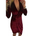 Sexy Plunge Neck Long Sleeve Asymmetrical Hem Plain Midi Wrap Velvet Dress