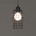 Industrial Wrought Iron  Hanging Pendant Light 8 Inch High with Cylinder Metal Cage Frame in Black