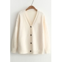 Basic Simple Plain V Neck Long Sleeve Single Breasted Cardigan