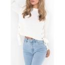 Fashion Grommet Lace-Up Side Long Sleeve Round Neck Basic Plain Sweater