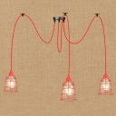 Industrial Vintage Multi Light Pendant Light 3 Light Adjustbale with Red Metal Cage and Clear Glass Shade