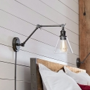Industrial Adjustable Wall Sconce with Conical Clear Glass Shade in Modern Style