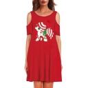 Fashion Christmas Cartoon Horse Pattern Short Sleeve Midi T-Shirt Dress