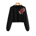 Hot Popular Chic Floral Embroidered Round Neck Long Sleeve Pullover Cropped Sweatshirt