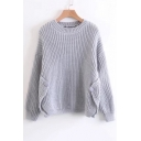 New Stylish Buttons Embellished Round Neck Long Sleeve Simple Plain Sweater