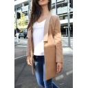 Hot Fashion Lapel Collar Simple Plain Long Sleeve Long Blazer Coat with Single Button