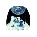 Casual Sports Digital Galaxy Pattern Round Neck Long Sleeve Pullover Sweatshirt