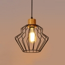 Vintage Pendant Light with Wire Cage and Wood Accent, Black