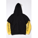 New Trendy Fake Two-Piece Color Block Letter Printed Unisex Sports Hoodie