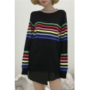 Chic Color Block Striped Pattern Long Sleeve Round Neck Basic Pullover Sweater
