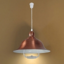 Industrial Adjustable Pendant Light with Copper Bell Shade