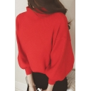 Basic Simple Plain High Neck Lantern Sleeve Warm Loose Pullover Sweater
