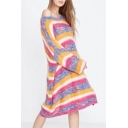 Round Neck Long Sleeve Oversize Loose Colorful Striped Print Tunic Sweater