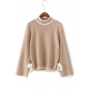 Simple Color Block Mock Neck Long Sleeve Bow Tied Side Pullover Sweater