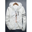 Color Block Letter Print Hooded Unisex Long Sleeve Coat
