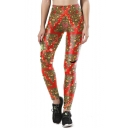 New Stylish Color Block Christmas Tree Pattern Skinny Sports Leggings