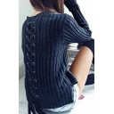 Hot Fashion Lace-Up Hollow Out Back Round Neck Long Sleeve Plain Sweater