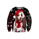 New Stylish Digital Christmas Dog Pattern Long Sleeve Round Neck Sweatshirt