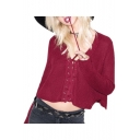 New Arrival Sexy Lace-Up Plunge Neck Long Sleeve Plain Cropped Sweater