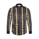 New Fashion Color Block Printed Lapel Collar Long Sleeve Leisure Shirt
