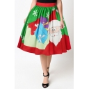 Fashion Digital Christmas Santa Claus Pattern Elastic Waist Midi Flared Skirt