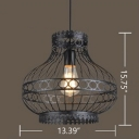 Industrial Vintage Hanging Pendant Light E27 Lighting with Vase Shade in Black