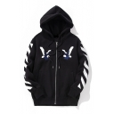 Fashion Striped Pattern Long Sleeve Double Eagle Embroidered Zip Up Hoodie