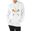 Hot Popular Cartoon Unicorn Pattern Long Sleeve Leisure Hoodie with Pockets