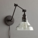 Industrial Wall Sconce Adjustable with Modern Clear Glass Shade in Sliver