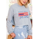 Hot Fashion Letter Pattern Round Neck Long Sleeve Cropped Pullover Sweatshirt