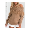 Stylish Tassel Hem Sexy Off The Shoulder Long Sleeve Plain Pullover Sweater