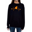 New Collection Color Block Letter Cat Pattern Round Neck Long Sleeve Sweatshirt