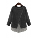 Fashion Fake Two-Piece Patchwork Round Neck Long Sleeve Plain Sweater